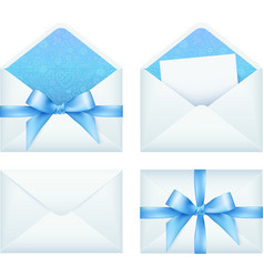 Blue envelope with ribbon set vector