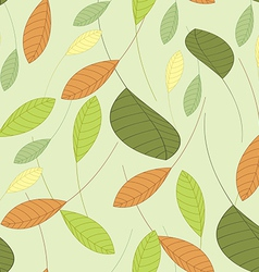 seamless background with leaves in shades of green vector image