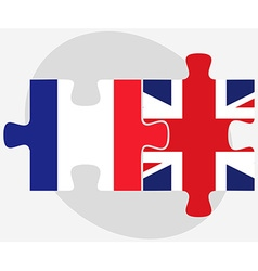 France and united kingdom flags in puzzle isolated vector