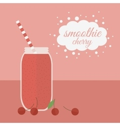 Cherry smoothie in jar on a table vector