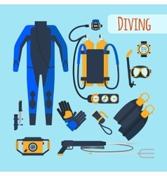 Diving equipment icons vector