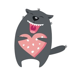 happy cat with sausage vector image