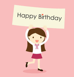 A girl holding happy birthday banner vector