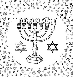 Hand drawn sketch of menorah traditional jewish vector