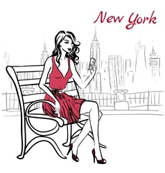 woman sitting on bench vector image