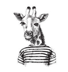 Hand drawn of giraffe hipster vector