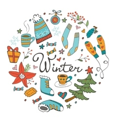 Colorful hand drawn winter collection in round vector