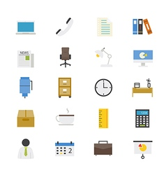Office and business flat icons color vector