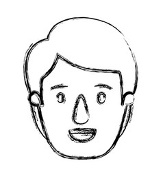Blurred silhouette caricature front view young man vector