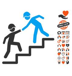 Builder business help icon with valentine bonus vector