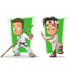 Cartoon kung fu boys character set vector
