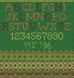 Christmas knitted Font vector image vector image