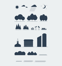 City landscape elements silhouette style vector