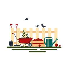 concept of gardening farm tools flat- vector image