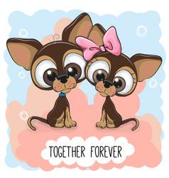 cute cartoon puppies boy and girl vector image vector image