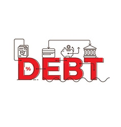 Debt word lettering typography design vector image
