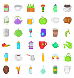 Food and drink icons set cartoon style vector