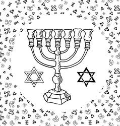 Hand drawn sketch of menorah traditional jewish vector