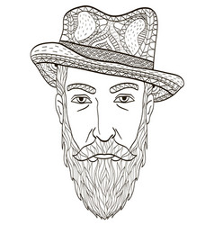 Head of an elderly man with a beard coloring book vector