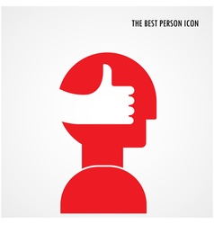Head symbol with best hand sign vector image vector image