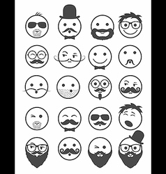 icon set 20 mans faces vector image