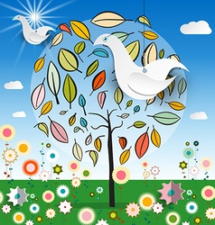 Magic Garden with Abstract Tree - Colorful Flowers vector image