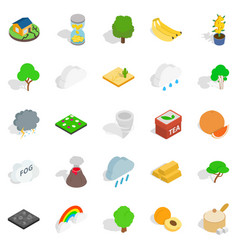 Mother nature icons set isometric style vector