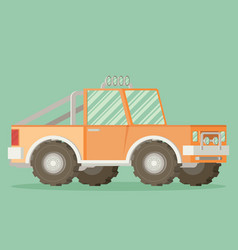off road car isolated on color background flat vector image