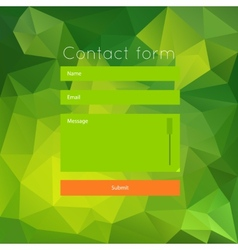 Polygonal green contact form vector