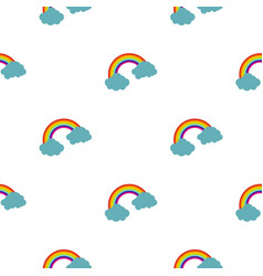 Rainbow and clouds pattern seamless vector