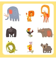 Safari Animals and Birds Set vector image