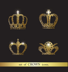 set of crown icons vector image vector image