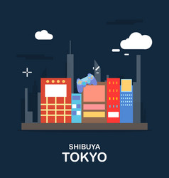 shibuya tokyo tourist attraction in the night vector image vector image