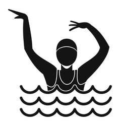 Swimmer in a swimming pool icon simple style vector