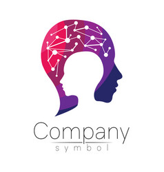 symbol of human head profile face violet vector image vector image