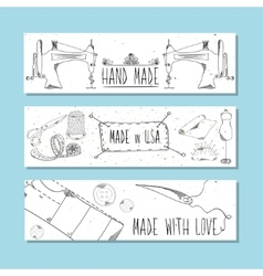 The website banners in retro style Hand-drawn vector image