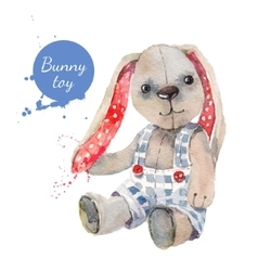 Watercolor bunny toy for vector image