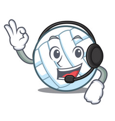 With headphone volley ball character cartoon vector