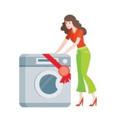 Woman buys washing machine in flat style isolated vector