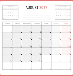 Calendar Planner for August 2017 vector image