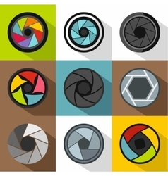 Aperture of camera icons set flat style vector