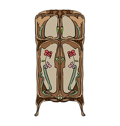 Jugendstil wardrobe with flowers vector