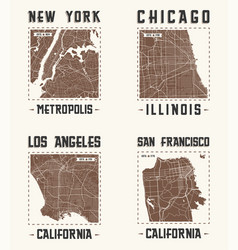 Set of us cities vintage t-shirt designs vector