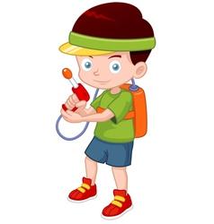 Cartoon boy with toy gun vector image