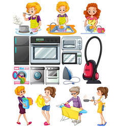 women doing chores around the house vector image