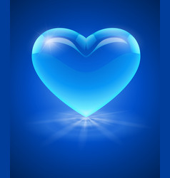 Blue glass heart vector image