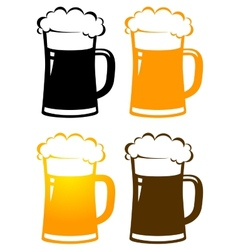 Set of colorful beer mugs with foam vector