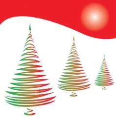 three christmas trees on red vector image