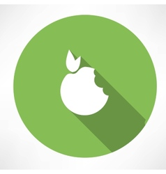 Bitten apple green icon vector