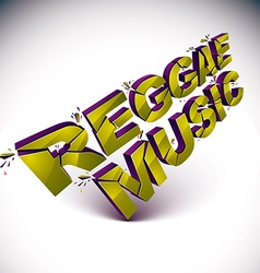 3d shattered green reggae music word created with vector
